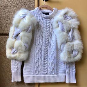 Burberry Prorsum Cashmere and Fox Sleeve Sweater